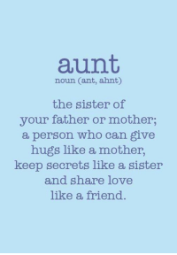 Memes, Mothers, and 🤖: aunt,  noun Cant, ahnt)  the sister of  your father or mother;  a person who can give  hugs like a mother,  keep secrets like a sister  and share love  like a friend.