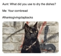 Memes, Thanksgiving, and Thanksgiving Clap Back: Aunt: What did you use to dry the dishes?  Me: Your cornbread  What's Thanksgiving without a thanksgivingclapback