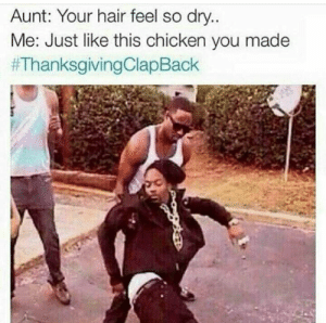 Thanksgiving Clap Back, Chicken, and Hair: Aunt: Your hair feel so dry.  Me: Just like this chicken you made