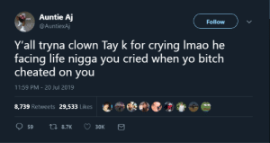Facing: Auntie Aj  Follow  @AuntiexAj  Y'all tryna clown Tay k for crying Imao he  facing life nigga you cried when yo bitch  cheated on you  11:59 PM - 20 Jul 2019  8,739 Retweets  29,533 Likes  17 8.7K  59  Зок
