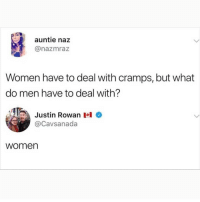 Memes, Best, and Women: auntie naz  @nazmraz  Women have to deal with cramps, but what  do men have to deal with?  Justin Rowan I  @Cavsanada  women I know I say this a lot, but @BestMemes actually has the best memes 😂