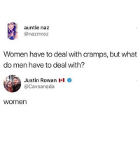 Memes, Women, and 🤖: auntie naz  @nazmraz  Women have to deal with cramps, but what  do men have to deal with?  Justin Rowan凶  @Cavsanada  women Dm to 5 women 😩