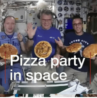 Love, Memes, and Nasa: Aur  Pizza party  in space Who wouldn't love to make pizza in space? Well these astronauts on the International Space Station got to do just that. @nasa sent a special meal kit to crew members. Look at that pizza go! science space spacestation nasa astronauts internationalspacestation astrophysics pizza