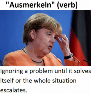 """Me irl: """"Ausmerkeln"""" (verb)  Ignoring a problem until it solves  itself or the whole situation  escalates. Me irl"""