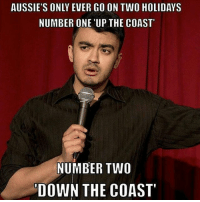 Up or down?: AUSSIE'S ONLY EVER GO ON TWO HOLIDAYS  NUMBER ONE 'UP THE COAST  NUMBER TWO  'DOWN THE COAST Up or down?