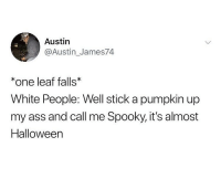 Ass, Halloween, and Ironic: Austin  @Austin_James74  *one leaf falls  White People: Well stick a pumpkin up  my ass and call me Spooky, it's almost  Halloween Cable knit sweaters 💁🏼‍♂️