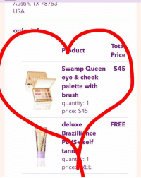 Elf, Memes, and Austin: Austin, IA 53  USA  Tot  duct  Price  Swamp Queen $45  eye & cheek  palette with  brush  quantity: 1  price: $45  deluxe  FREE  Brazilli  Ce  elf  tan  quan  1  price  EE @grav3yardgirl & @tartecosmetics coming through on a collaboration! Can't wait to try it! swampfamily swampqueenbunny