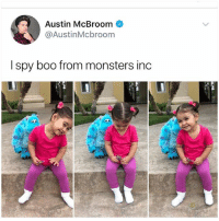 Boo, Club, and Crying: Austin McBroom  @AustinMcbroom  I spy boo from monsters inc Why am I crying in the club rn