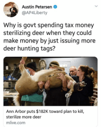 Deer, Memes, and Money: Austin Petersen  @AP4Liberty  Why is govt spending tax money  sterilizing deer when they could  make money by just issuing more  deer hunting tags?  Ann Arbor puts $182K toward plan to kill,  sterilize more deer  mlive.com 🤷‍♂️ (CS)