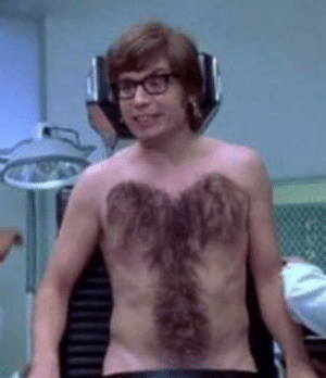 Austin Powers is manly that his chest hair, shown here, formulates the shape of the male genitalia.: Austin Powers is manly that his chest hair, shown here, formulates the shape of the male genitalia.