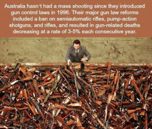 Memes, Control, and Australia: Australia hasn't had a mass shooting since they introduced  gun control laws in 1996. Their major gun law reforms  included a ban on semiautomatic rifles, pump-action  shotguns, and rifles, and resulted in gun-related deaths  decreasing at a rate of 3-5% each consecutive year. https://t.co/3j81QhVFAp