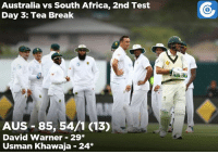 Africa, Memes, and Run: Australia vs South Africa, 2nd Test  Day 3: Team Break  AUS 85, 54/1 (13)  David Warner 29  Usman Khawaja 24 That's tea on Day 3. Australia 54/1 trail by 187 runs.