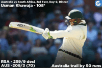 Australia's session! Usman Khawaja's century inspires Australia to post a score of 209/3 at Dinner on Day-2.: Australia vs South Africa, 3rd Test, Day-2, Dinner  Usman Khawaja 108  RSA 259/9 decl  AUS -209/3 (70)  Australia trail by 50 runs Australia's session! Usman Khawaja's century inspires Australia to post a score of 209/3 at Dinner on Day-2.