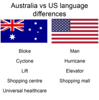 Memes, Shopping, and Australia: Australia vs US language  differences  Bloke  Cyclone  Lift  Shopping centre  Universal healthcare  Man  Hurricane  Elevator  Shopping mall 😂😂