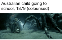 Australian: Australian child going to  school, 1879 (colourised)