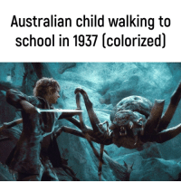 School, Tumblr, and Blog: Australian child walking to  school in 1937 (colorized) memehumor:Was never found