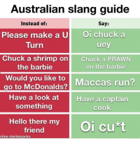 Barbie, Hello, and McDonalds: Australian slang guide  Please make a Oi chuck a  Chuck a shrimp on Chuck a PRAWN  Instead of:  Say:  Turn  uey  the barbie  Would you like to  go to McDonalds?  Have a look at  something  on the barbie  Maccas run?  Have a captain  cook  Hello there my Oi cu*t  friend as an australian i can say that i do say chuck a uey and maccas run and i dont get why non aussies think we say chuck a shrimp on the barbie we literally call them prawns but ok
