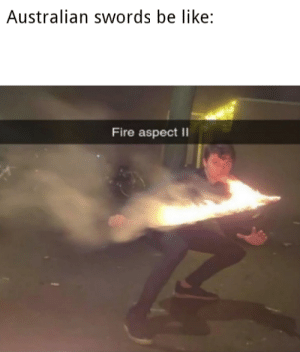 Veri funni: Australian swords be like:  Fire aspect || Veri funni