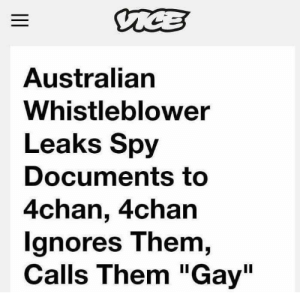 """me irl by PM-ME-STEAM-KEY5 MORE MEMES: Australian  Whistleblower  Leaks Spy  Documents to  4chan, 4chan  gnores T hem,  Calls Them """"Gay"""" me irl by PM-ME-STEAM-KEY5 MORE MEMES"""