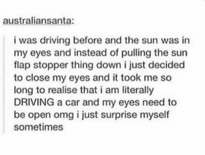 Driving, Omg, and Sun: australiansanta:  i was driving before and the sun was in  my eyes and instead of pulling the sun  flap stopper thing down i just decided  to close my eyes and it took me so  long to realise that i am literally  DRIVING a car and my eyes need to  be open omg i just surprise myself  sometimes ◉_◉