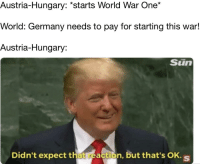 It reaaaly do be like this sometimes: Austria-Hungary: *starts World War One*  World: Germany needs to pay for starting this war!  Austria-Hungary:  Sün  Didn't expect that reaction, but that's OK. s It reaaaly do be like this sometimes