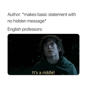 Every time 😅: Author: *makes basic statement with  no hidden message*  English professors  It's a riddle! Every time 😅