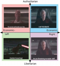 REE ROO: Authoritarian  I AM THE SENATE  The senate will decide your fate.  Economic  Economic-  Right  Left  (Autistic Screeching)  Are you threatening me master Jedi?  Libertarian REE ROO