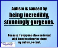 Facebook, Weird, and Autism: Autism is caused by  being incredibly,  stunningly gorgeous  Because if everyone else can invent  wild, baseless theories about  Autisticnot weird.com my autism, so can I.  www.facebook.com/  autisticnotweird A friend with Aspergers posted this on FB. I can get behind this conspiracy theory.