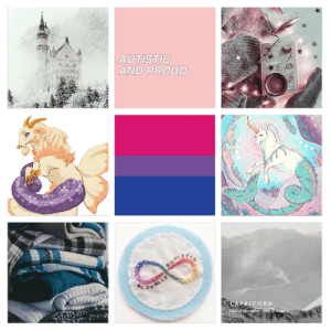 Lgbt, Mood, and Target: AUTISTIC  AND PROUD  CAPRICORN lgbt-mood:  Bisexual with winter, coziness, sea goats and autism, for anon, (helper Scoob)(Hope youll like it, feel free to ask me for modifications since im not rly sure!) Art source: [x] [x]