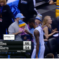 Baby, It's Cold Outside, Sports, and Baby: AutoNation Subaru  West Arapahoe  ANA  CERS  ER  GGETS  ALTITUDE  66  54  HALFTIME This guy Will Barton fist-bumped the baby 😂😭😂