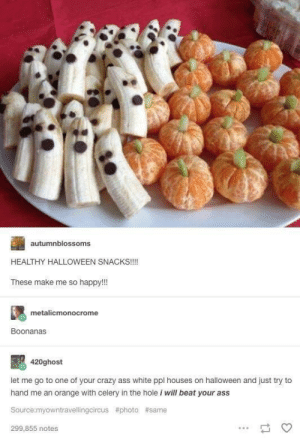 Do y'all ever get flashbacks to shitty block parties: autumnblossoms  HEALTHY HALLOWEEN SNACKS!!!!  These make me so happy!!!  metalicmonocrome  Boonanas  420ghost  let me go to one of your crazy ass white ppl houses on halloween and just try to  hand me an orange with celery in the hole i will beat your ass  Source:myowntravellingcircus #photo #same  299,855 notes Do y'all ever get flashbacks to shitty block parties
