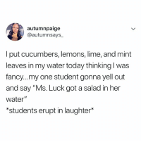 """Fancy, Today, and Water: autumnpaige  @autumnsays  I put cucumbers, lemons, lime, and mint  leaves in my water today thinking l was  fancy...my one student gonna yell out  and say """"Ms. Luck got a salad in her  water""""  *students erupt in laughter* tries to be healthy once 🙄"""
