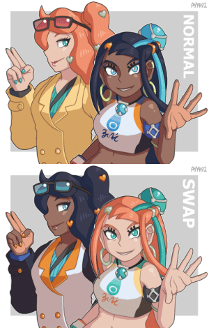 haniwahead: I wanted to try swapping Sonia and Nessa's color schemes It's not as bad as I expected actually, Sonia with Nessa's colors has a Pokemon GO trainer look while Nessa with Sonia colors kind of looks like a hippy or budget Plumeria   I expected the notes to be a flaming dumpster fire but it seems OK so far: AVУК92  NORMAL   АУУК92  SWAP haniwahead: I wanted to try swapping Sonia and Nessa's color schemes It's not as bad as I expected actually, Sonia with Nessa's colors has a Pokemon GO trainer look while Nessa with Sonia colors kind of looks like a hippy or budget Plumeria   I expected the notes to be a flaming dumpster fire but it seems OK so far