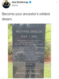 "America, Blackpeopletwitter, and Definitely: Ava Duvernay  @ava  Become your ancestor's wildest  dream  MELVINIA SHIELDS  1844 1938  THIS MEMORIAL IS DEDICATED TO  THE REMARKABLE LIFE OF  MELVINIA ""MATTIE', SHIELDS:MCGRUDER  SHE WAS BORN A SLAVE IN  SOUTH CAROLINA IN 1844.  AT AGE 6 SHE WAS BROUGHT TO  HE NEARBY SHIELDS FARNM  IN WHAT IS NOW  REX, CLAYTON COUNTY, GEORGIA  HER FAMILY WOULD ENDURE A  FIVE-GENERATION JOURNEY  THAT BEGAN IN OPPRESSION AND  WOULD LEAD HER DESCENDANT  TO BECOME  FIRST LADY OF THE  UNITED STATES OF AMERICA  MICHELLE OBAMA  THEIRS IS A STORY OF HOPE <p>Ancestors are definitely smiling down at them (via /r/BlackPeopleTwitter)</p>"