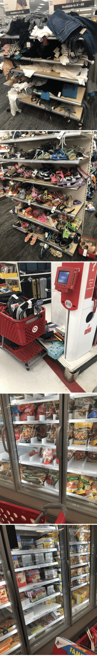 This is at the Target in the college town near me. The cashier told me this happens every year when classes go back in session. I don't even work retail anymore but this level of disrespect for the people who have to clean this up makes me so angry.: AVA  VIV  Now r  sizes  every  Available in X-4X  Available in X-4X  AVA  $8.00   Lift the  hone  for  assistance   son  GLUTEN F  READE  FARM Nou  en Breast  Diced Chidi  59  6.99  KE  ET  9  6.99  NUGGETS  Crispy Strips  Ps   UCKER  AX7075  butter &  butter & grope  2.7  AX7075  AX7075  CKERs  69  UCKER  sand  80  Mini Pancakes  NUGGETS  3.39  10.29 This is at the Target in the college town near me. The cashier told me this happens every year when classes go back in session. I don't even work retail anymore but this level of disrespect for the people who have to clean this up makes me so angry.