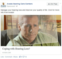 Click, Life, and Tumblr: Avada Hearing Care Centers  Like Page  Avada sponsored  Manage your hearing loss and improve your quality of life. Click for more  info from Avada  oping with Hearing Loss?  AVADA COM  Like Comment - Share  -A 6  12 iguanamouth: having trouble hearing? isolate yourself in the audio cube