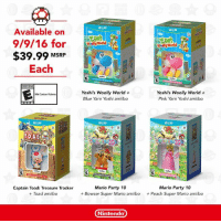 Bowser, Dank, and Nintendo: Available on  9/9/16 for  $39.99 MSRP  Each  EVERYONE  Mild Catoon Violence  TOADS  Captain Toad: Treasure Tracker  Toad amiibo  WiiU  Wally World  Wally World  Yoshi's Woolly World  Yoshi's Woolly World  Pink Yarn Yoshi amiibo  Blue Yarn Yoshi amiibo  Wii  WiiU  Mario Party 10  Mario Party 10  Bowser Super Mario amiibo  Peach Super Mario amiibo  Nintendo Starting on 9/9, you can get a great Wii U game and a compatible amiibo for only $39.99! These new Wii U + amiibo bundles are a great way to get introduced to the magical world of amiibo.