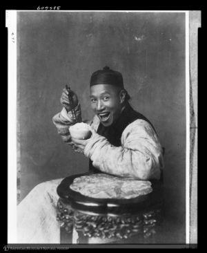 """avatar-dacia:  thisisarebeljyn:  fearwax:  scootsenshi:  24-sa3t:  comradeonion:  powerofthestruggle:  Man eating rice, China, 1901-1904  this is an extremely important picture  Ive never seen someone from 1904 having fun omg  He has a nice face  No but the history behind this picture is really interesting The reason that everyone always looked miserable in old photos wasn't that they took too long to take. Once photography became widespread it took only seconds to take a picture. It was because getting your photo taken was treated the same as getting your portrait painted. A very serious occasion meant so thst your descendants would know that ypu existed and what you looked like. But one time some British dudes went to china to go on an anthropological expedition, and they met some rural Chinese farmers and decided to take their pictures. Now, these people weren't exposed to the weird culture of the time around getting your photo taken, so this guy just flashed a big grin during the photo because he was told to strike a pose and that's the pose he wanted to strike.   I think painted portraits and old photos give us the idea that in general people were just really unhappy because those are the visuals we have. This is so refreshing.  Hey, look; """"Man Laughing Alone With Rice"""" is back on my dash. : avatar-dacia:  thisisarebeljyn:  fearwax:  scootsenshi:  24-sa3t:  comradeonion:  powerofthestruggle:  Man eating rice, China, 1901-1904  this is an extremely important picture  Ive never seen someone from 1904 having fun omg  He has a nice face  No but the history behind this picture is really interesting The reason that everyone always looked miserable in old photos wasn't that they took too long to take. Once photography became widespread it took only seconds to take a picture. It was because getting your photo taken was treated the same as getting your portrait painted. A very serious occasion meant so thst your descendants would know that ypu existed and what you looke"""