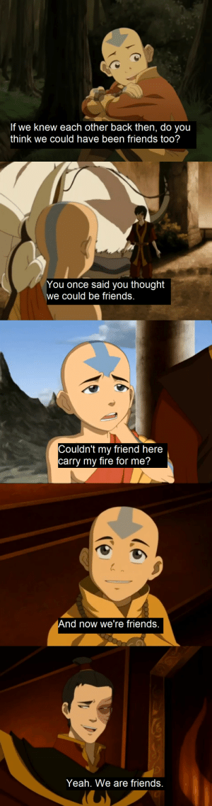 avatarsymbolism:Aang and Zuko calling each other friends.: avatarsymbolism:Aang and Zuko calling each other friends.