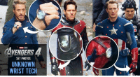 The latest AVENGERS 4 set photos show Earth's Mightiest Heroes wearing strange devices on their hands.  (Andrew Gifford): AVENDERS 4  SET PHOTOS  UNKNOWN  WRIST TECH The latest AVENGERS 4 set photos show Earth's Mightiest Heroes wearing strange devices on their hands.  (Andrew Gifford)