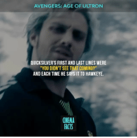 "Avengers Age of Ultron, Facts, and Friends: AVENGERS: AGE OF ULTRON  QUICKSILVER'S FIRST AND LAST LINES WERE  ""YOU DIDN'T SEE THAT COMING?""  AND EACH TIME HE SAYS IT TO HAWKEYE.  (NEMA  FACTS Is Quicksilver' death in ""The Avengers"" very early for MCU? Your thoughts? — Tag your friends avengers quicksilver scarletwitch marvelcomics marvel marvelmovies marvelheroes marveluniverse comics cinema_facts cinema movies films hawkeye ironman save coming"