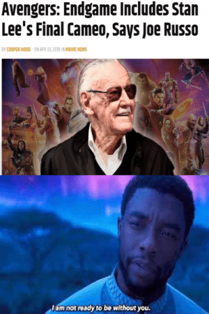 I am now depressed: Avengers: Endgame Includes Stan  Lee's Final Cameo, Says Joe Russo  BY COOPER HOOD-ON APR 03,2019 IN MOVIE NEWS  am not ready to be without you I am now depressed
