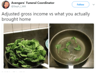 Blackpeopletwitter, Avengers, and Home: Avengers' Funeral Coordinator  @Steph_LWill  Follow  Adjusted gross income vs what you actually  brought home <p>What you got vs what you get to eat (via /r/BlackPeopleTwitter)</p>