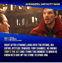 If Doctor Strange only spent one minute in each of the 14 million outcomes, that's over 26 years. That's a lot of time to become attached to each of the Avengers - seeing their heroics and watching them die over and over again. Your thoughts?⠀ -⠀⠀ Follow @cinfacts for more facts: AVENGERS: INFINITY WAR  Follow  ONE  HATS  infacts  r more content  RIGHT AFTER STRANGE LOOKS INTO THE FUTURE, HIS  ENTIRE ATTITUDE TOWARDS TONY CHANGES. HE KNOWS  TONY'S THE KEY ANDI THINK THIS MOMENT IS WHEN HE  KNEW HE'D GIVE UP THE STONE TO SPARE HIM. If Doctor Strange only spent one minute in each of the 14 million outcomes, that's over 26 years. That's a lot of time to become attached to each of the Avengers - seeing their heroics and watching them die over and over again. Your thoughts?⠀ -⠀⠀ Follow @cinfacts for more facts
