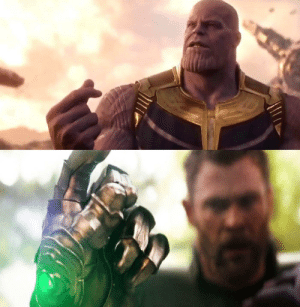 Avengers Infinity War. Thanos main objective is to cut everything in half. His snap is so powerful it cut the movie in half giving us a second movie, End Game, instead of one full complete movie.: Avengers Infinity War. Thanos main objective is to cut everything in half. His snap is so powerful it cut the movie in half giving us a second movie, End Game, instead of one full complete movie.