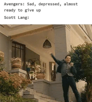 The World Needs More Avengers Memes: Avengers: Sad, depressed, almost  ready to give up  Scott Lang:  40 The World Needs More Avengers Memes