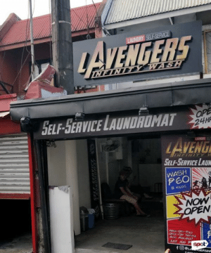 Clothes, Dank, and Laundromat: AVENGERS  SELF-SERVICE LAUNDROMAT  ENG  SELF-SERVICE LAU  WASH  P6O  NOW  fOe  spot With a drop of their detergent, half of your clothes will cease to exist.  📸 spot.ph 📍 Lavengers Infinity Wash
