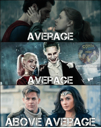 Batman, Click, and Joker: AVERAGE  COMIC  UNCANNICOMICQUEST  AVERAGE  ABOVE AVERAGE Whelp, I have a new favorite couple. Diana & Steve for the DCEU. Lois & Clark for the comics. Who is YOUR favorite super couple? Comment below 👇🏼 a different look at @dc_fans_united post from yesterday . . . 🚨don't forget to CLICK THE LINK IN MY BIO! to subscribe to our YouTube page and have a chance to win out JUSTICE LEAGUE GIVEAWAY!🚨 . . . batman superman wonderwoman aquaman justiceleague darkseid stevetrevor amazons galgadot chrispine henrycavill benaffleck dceu dctv dccomics dcrebirth theflash flash reverseflash blackflash greenarrow arrow greenlantern grantgustin ezramiller stephenamell supergirl melissabenoist harleyquinn joker