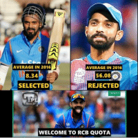 quota: AVERAGE IN 2016  AVERAGE IN 2016  56.08  REJECTED  8.34  SELECTED  IPL  WELCOME TO RCB QUOTA