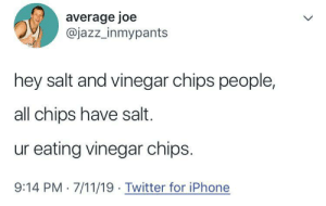 I've been lied to: average joe  @jazz_inmypants  hey salt and vinegar chips people,  all chips have salt.  ur eating vinegar chips.  9:14 PM 7/11/19 Twitter for iPhone I've been lied to